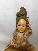"Vintage Carmen Miranda Composition Doll For Repair 11"" Tall"