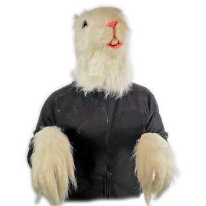 White Fursuit Rat Mask & Gloves Gerbil Animal Latex Costume Halloween Accessory