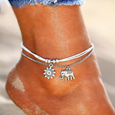 Silver Boho Ankle Bracelet 3 Layer Anklet Adjustable Chain Foot Beach Jewelry UK
