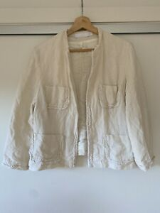 Trelise Cooper 100% Linen Cream Jacket - Size 14 - NZ Made - RRP $450 No Defects