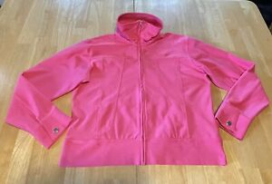Nike Jacket Dri-Fit Pink Full Zip Size Large Women's Golf Casual Pockets