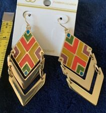 "Colorful Gold Tone Dangle Earrings 3"""