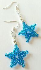 Nuevo hecho a mano de semilla en forma de estrella Azul Turquesa Con Cuentas Dangle Pendientes