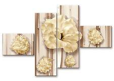 Quadro moderno su tela Shabby Chic fiori su 4 pannelli Gardenie   160 x 100 cm