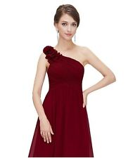 Ever Pretty Flower One Shoulder Long Bridesmaids Party Dress 08237 Red Size 4