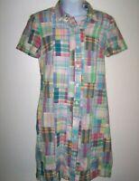 Vintage Talbots Madras Patchwork Plaid Dress 4P Button Front Shirtdress