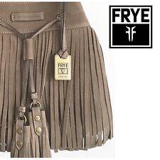 FRYE HEIDI Fringe Leather Bucket Bag Grey SUEDE Tassel Boho NEW NWT *SOLD OUT*