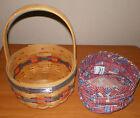 LONGABERGER 1997 Vintage Inaugural American Basket w/ Fabric Flag Liner USA