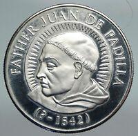 USA Father Juan De Padilla AMERICAS 1st MARTYR Christian OLD Silver Medal i90783