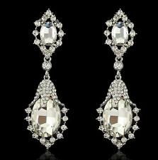 Clear Crystal Women Fashion Rhinestone High Quality Glass Long Drop Stud Earring