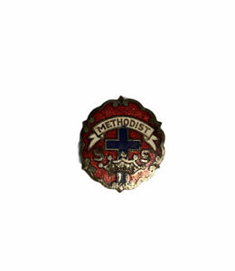 Vintage Methodist Pin Brooch Red Enamel Little's System Cross and Crown