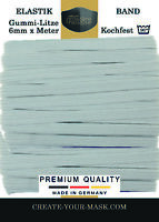 10m x 6mm Gummiband kochfest leichter Zug Gummilitze schwarz für Masken