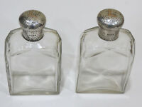 A Pair of Antique Victorian Sterling Silver Glass Perfume Bottles