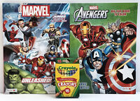 New 3pc Kids Gift Set Marvel Avengers Jumbo Coloring Activity Books  + Crayons
