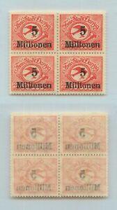 Danzig 1923 SC C25 Mi 180 FL MNH, 5 mil on 100000, block of 4. g1139
