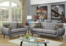Retro Collection Gray Sofa & Loveseat Polyfiber Tufted Seating Sofa Couch Modern