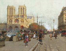 Eugene Galien Laloue Notre Dame Paris View Of The Quai De Montebello    #3009