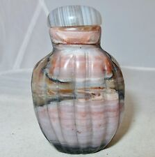 """2.65"""" Chinese Carved Striped Pink / Lavender & Black Snuff Bottle with Agate Top"""