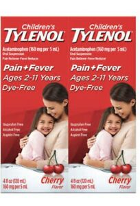 Children's Tylenol Dye-Free Cherry Flavor Suspension, 8 Ounces Exp-01/2022