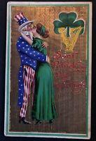Pretty Lady Kissing Uncle SAM~Antique Patriotic ST. PATRICK'S DAY Postcard-a564