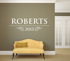 Personalized Family Name Wall Decal Monogram #17 Living and Family Room Vinyl