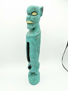 """Devil Demon Blue Indonesia Carved Wood Candle Holder Hanging Decor 16"""""""