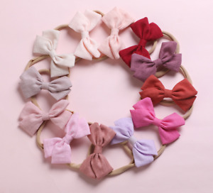 Baby Bow Headband Soft Fabric Band Nylon Bow Headbands - Brand New Soft & Gentle