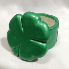 "Green Shamrock Clover 2"" Ceramic Trinket Box St. Patricks Day"
