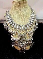 Boho Hippie Ethnic Bollywood Bib chest necklace Aztec new fashion silver