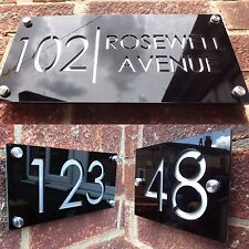 MODERN HOUSE SIGN PLAQUE DOOR NUMBER STREET NAME ENGRAVED CUT ACRYLIC ALUMINIUM