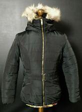 H&M LOVELY BLACK BELTED PUFFER PARKA STYLE JACKET/COAT