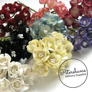 12 Small Cherry Blossom Multi-tone Paper Flowers for Millinery, Headress & Tiara