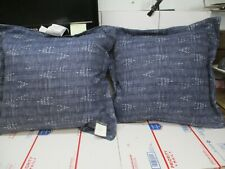 Set Of 2 Threshold Deep Seating Back Cushions Navy / White 24X20X6 New Other