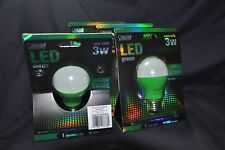2 NEW Green FEIT ELECTRIC LED Party Light Bulb 3-Watt A19/G/LED 25,000 Life Hrs