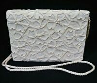 Vtg Bloomingdale's Ivory/Cream Lace Floral Women's Purse Cross Body Bag Clutch