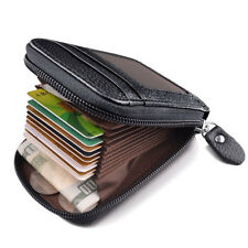 Men's Wallet Genuine Real Leather Credit Card Holder RFID Blocking Zipper Pocket
