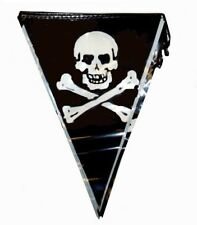 Black & White Pirate Jolly Roger Skull & Crossbones 12ft Bunting Flags