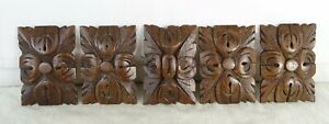 Set of 5 French Antique Carved Medallions Walnut Wood Trim Salvage