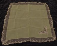 Vintage Nylon Scarf with Hand Attached Lace Trim and Inset 00004000  - Vgc - Gorgeous