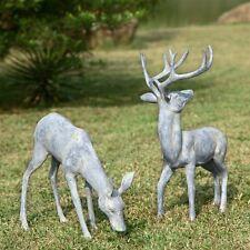 Garden Deer Pair Metal Sculpture Statue Buck Doe Stag Rustic Cabin SPI 33686
