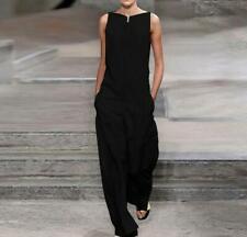 USM Black Women's Jumpsuit Suit Casual Pocket Summer Pant Sleeveless Baggy jx00