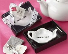 75 White Swee-Tea Tea Pot & Caddy Tray Wedding Bridal Shower Party Favors
