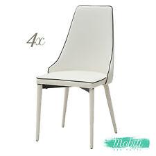 Sedia Moderna in Ecopelle Bianca con Bordo Nero - 4 pezzi SPEDIZIONE GRATUITA