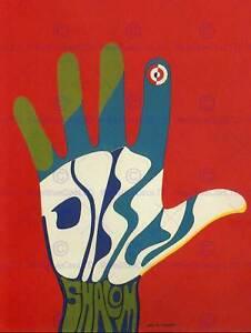 PROPAGANDA POLITICAL ISRAEL SHALOM PEACE HAND COLOUR POSTER ART PRINT BB2579B