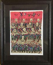 ESTAMPE JAPONAISE sur soie.Circa 1920.Le défilé.25,5x18,5.Signée.