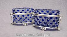 Pair Victorian Cut Glass Silver Plate Trinket Boxes Jewellery Casket