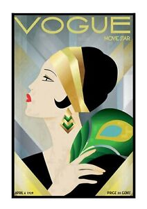 Three Vintage Vogue Magazine Cover Art Deco Unframed Prints