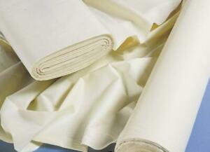 """Premium Polycotton Curtain Lining Fabric 54"""" Inch Ivory Per 1m Metre Clearance"""