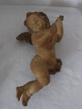 Vintage German Carved Wood Musician Cherub Angel Wall Ornament #N