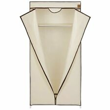 Non Woven Canvas Wardrobe Cupboard Hanging Rail Shelves Home Storage 160cm